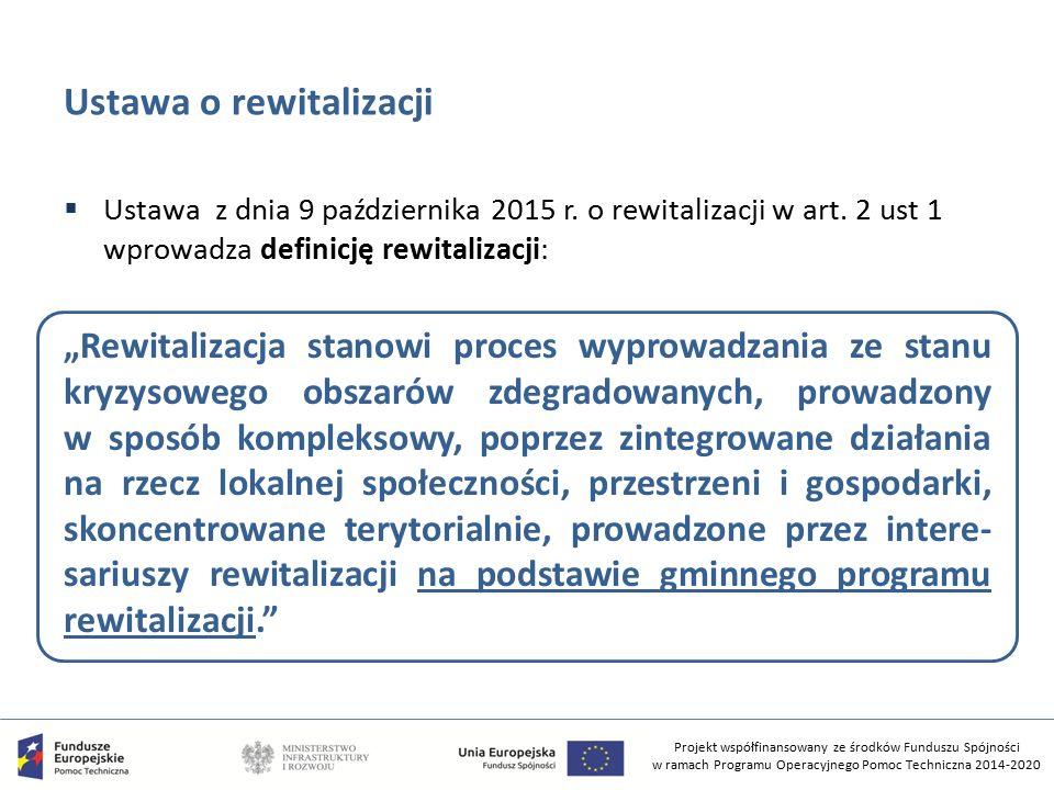 Projekt współfinansowany ze środków Funduszu Spójności w ramach Programu Operacyjnego Pomoc Techniczna 2014-2020 Ustawa o rewitalizacji  Ustawa z dnia 9 października 2015 r.
