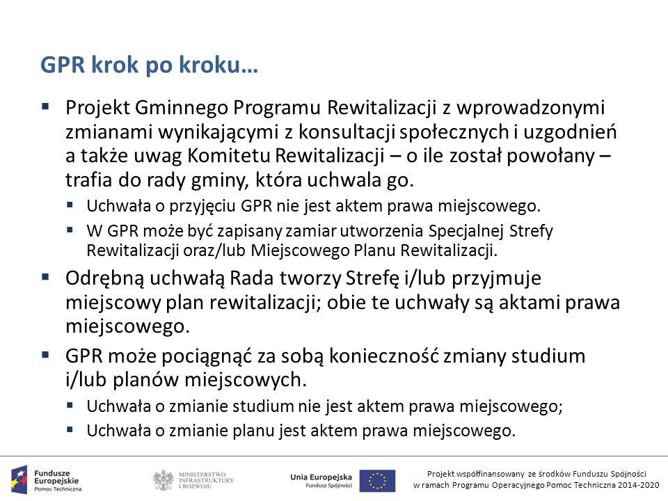 Projekt współfinansowany ze środków Funduszu Spójności w ramach Programu Operacyjnego Pomoc Techniczna 2014-2020 GPR krok po kroku…  Projekt Gminnego