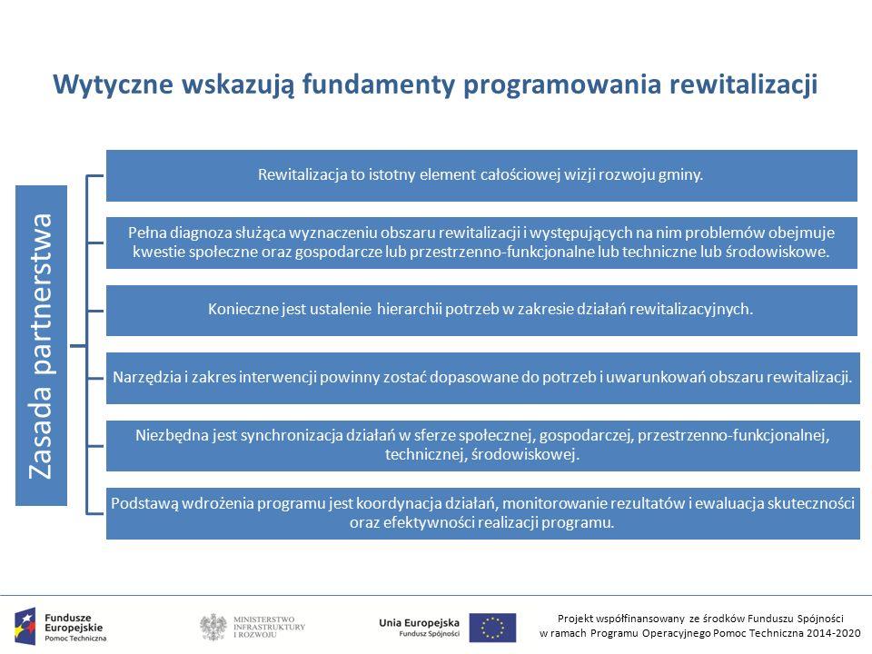 Projekt współfinansowany ze środków Funduszu Spójności w ramach Programu Operacyjnego Pomoc Techniczna 2014-2020 Wytyczne wskazują fundamenty programowania rewitalizacji Zasada partnerstwa Rewitalizacja to istotny element całościowej wizji rozwoju gminy.