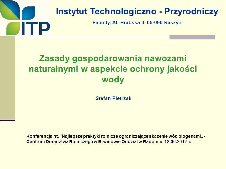 Zasady gospodarowania nawozami naturalnymi w aspekcie ochrony jakości wody Stefan Pietrzak Konferencja nt.