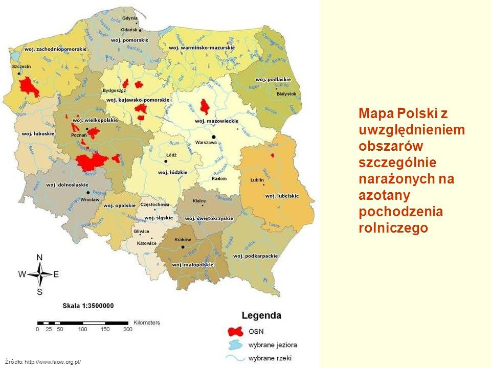 Źródło: http://www.faow.org.pl/ Mapa Polski z uwzględnieniem obszarów szczególnie narażonych na azotany pochodzenia rolniczego