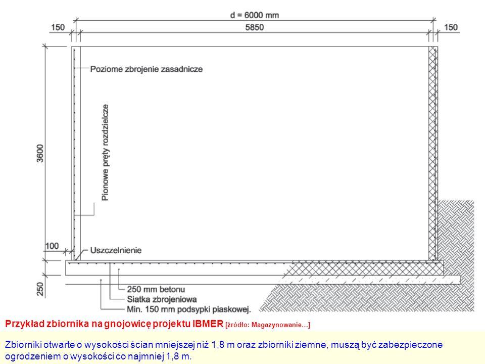 Przykład zbiornika na gnojowicę projektu IBMER [źródło: Magazynowanie…] Zbiorniki otwarte o wysokości ścian mniejszej niż 1,8 m oraz zbiorniki ziemne, muszą być zabezpieczone ogrodzeniem o wysokości co najmniej 1,8 m.