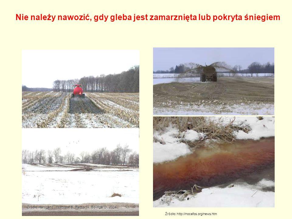 Źródło: http://nocafos.org/news.htm Nie należy nawozić, gdy gleba jest zamarznięta lub pokryta śniegiem Źródło: Harrigan T., Northcott B., Rector N., Bolinger D., 2004