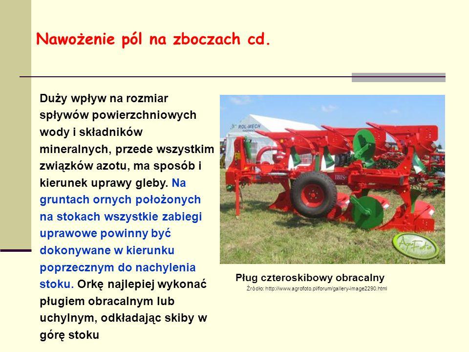 Źródło: http://www.agrofoto.pl/forum/gallery-image2290.html Pług czteroskibowy obracalny Duży wpływ na rozmiar spływów powierzchniowych wody i składników mineralnych, przede wszystkim związków azotu, ma sposób i kierunek uprawy gleby.