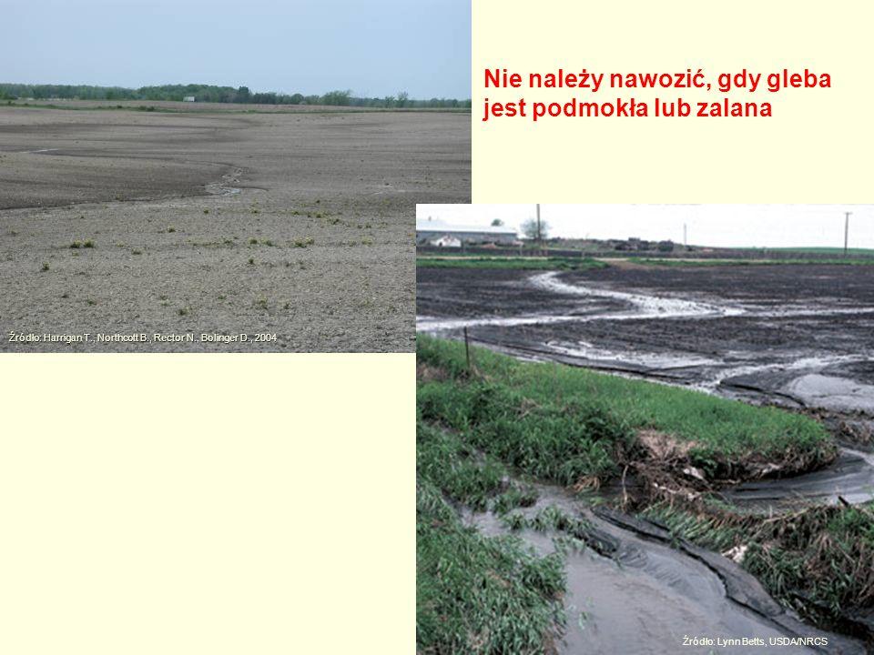 Źródło: Harrigan T., Northcott B., Rector N., Bolinger D., 2004 Źródło: Lynn Betts, USDA/NRCS Nie należy nawozić, gdy gleba jest podmokła lub zalana