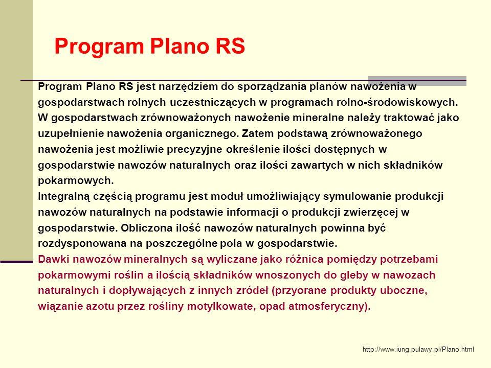 Program Plano RS Program Plano RS jest narzędziem do sporządzania planów nawożenia w gospodarstwach rolnych uczestniczących w programach rolno-środowiskowych.