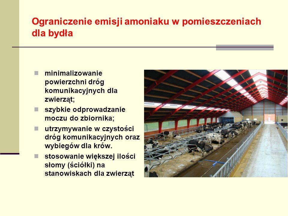 Ograniczenie emisji amoniaku w pomieszczeniach dla bydła minimalizowanie powierzchni dróg komunikacyjnych dla zwierząt; szybkie odprowadzanie moczu do zbiornika; utrzymywanie w czystości dróg komunikacyjnych oraz wybiegów dla krów.