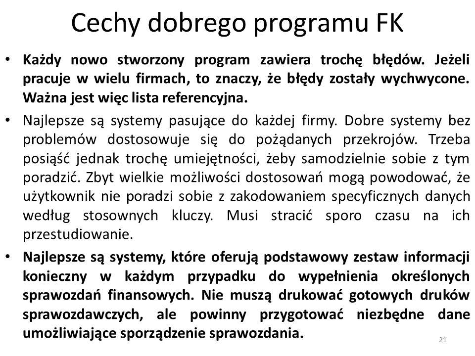 Cechy dobrego programu FK Każdy nowo stworzony program zawiera trochę błędów. Jeżeli pracuje w wielu firmach, to znaczy, że błędy zostały wychwycone.