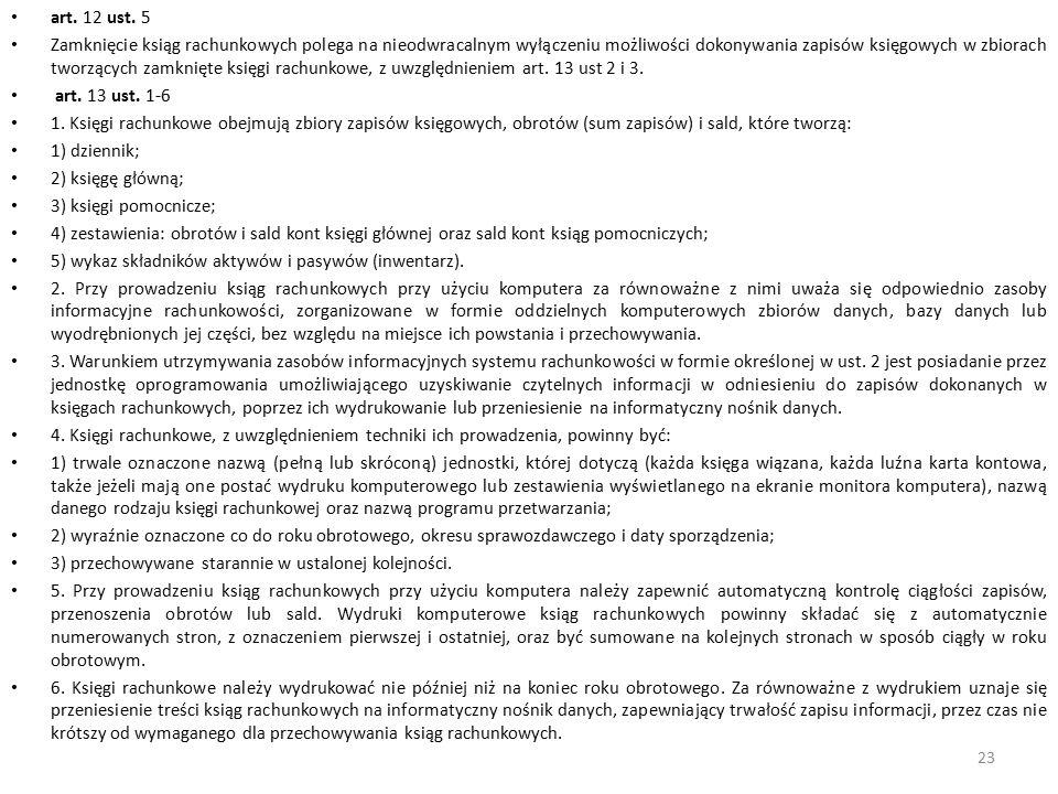 art. 12 ust. 5 Zamknięcie ksiąg rachunkowych polega na nieodwracalnym wyłączeniu możliwości dokonywania zapisów księgowych w zbiorach tworzących zamkn