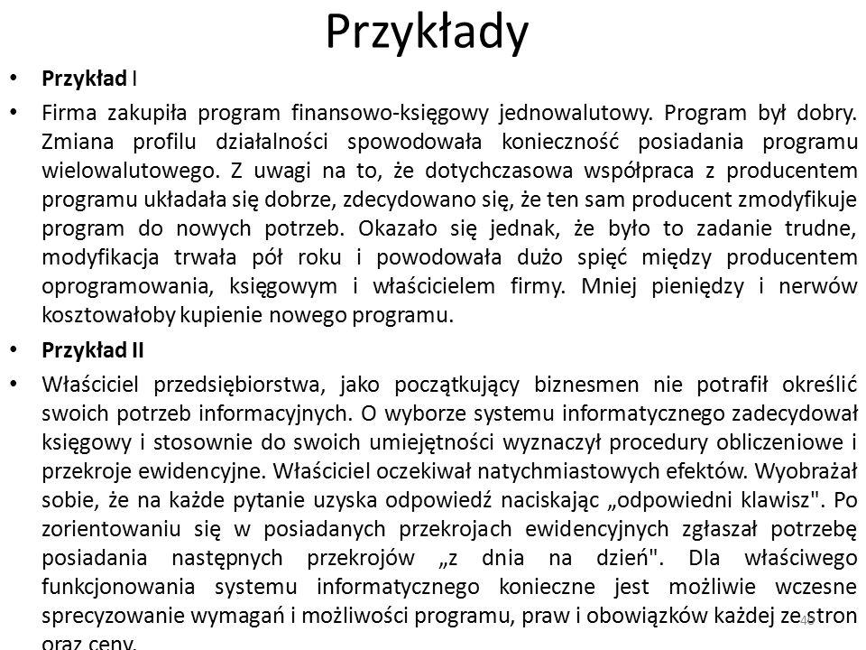 Przykłady Przykład I Firma zakupiła program finansowo-księgowy jednowalutowy.