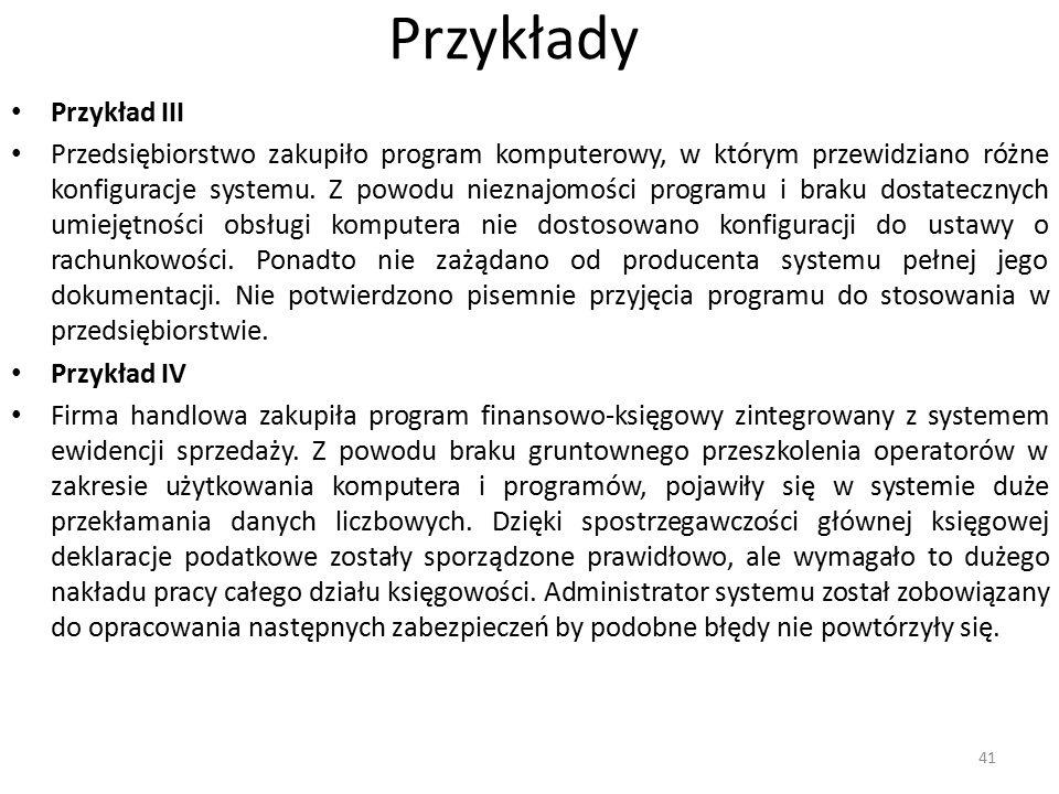 Przykłady Przykład III Przedsiębiorstwo zakupiło program komputerowy, w którym przewidziano różne konfiguracje systemu. Z powodu nieznajomości program