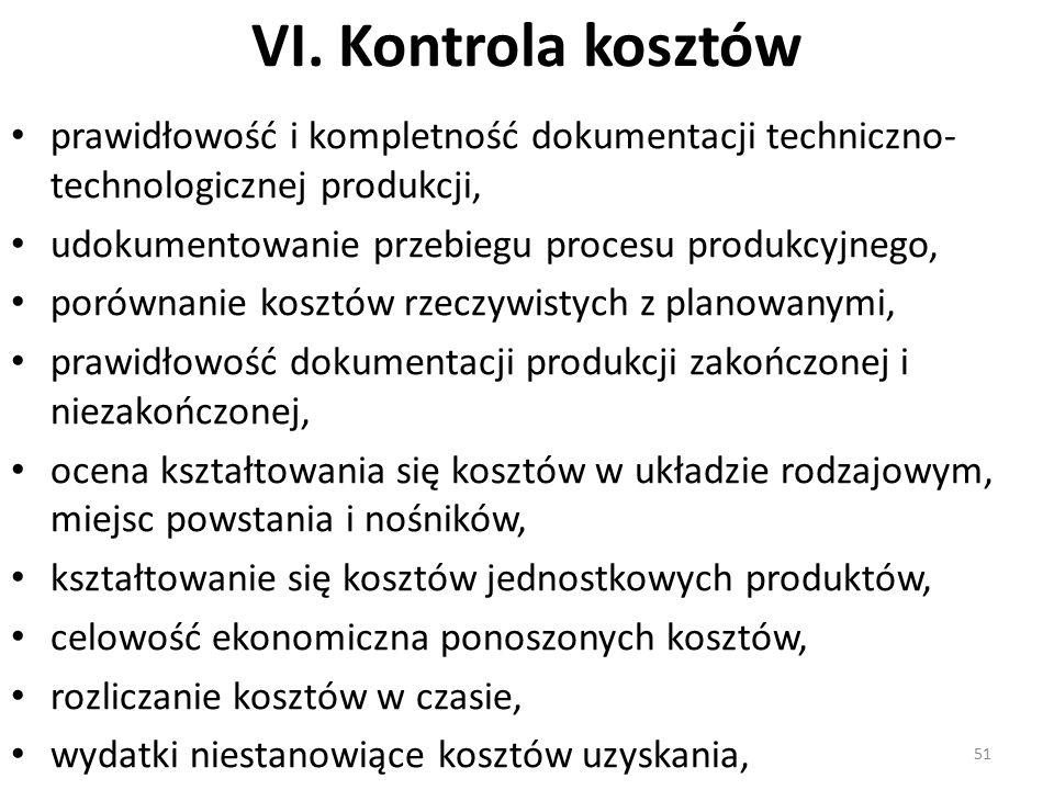VI. Kontrola kosztów prawidłowość i kompletność dokumentacji techniczno- technologicznej produkcji, udokumentowanie przebiegu procesu produkcyjnego, p