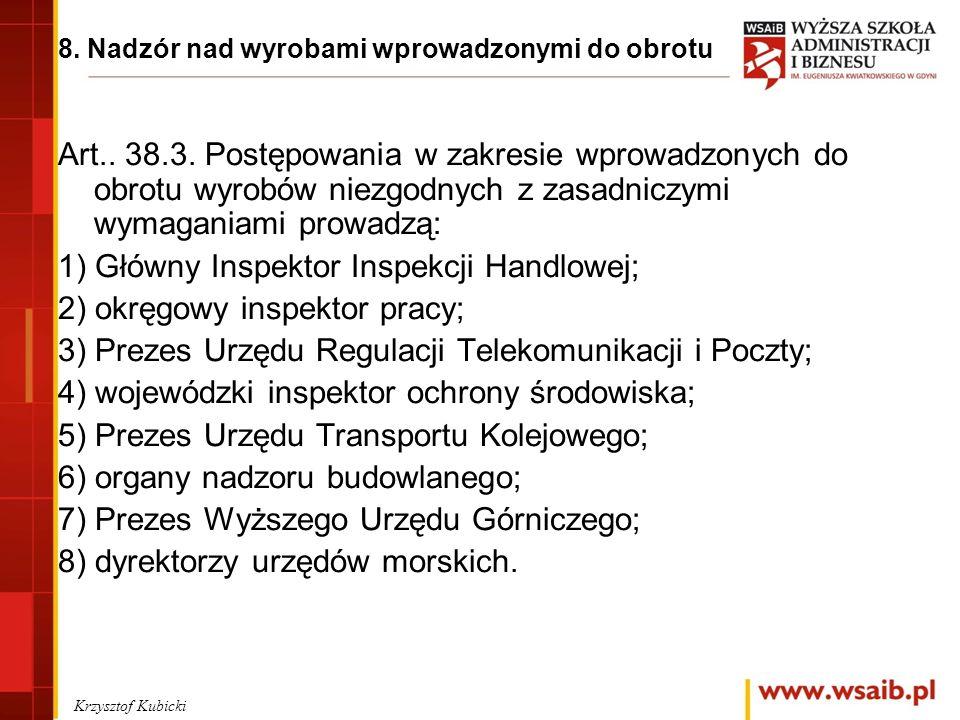 8. Nadzór nad wyrobami wprowadzonymi do obrotu Art..