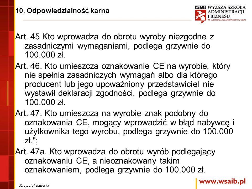 10. Odpowiedzialność karna Art.