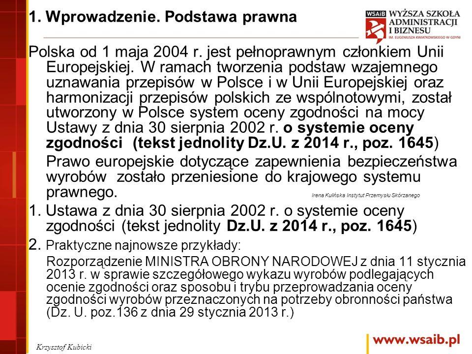 1. Wprowadzenie. Podstawa prawna Polska od 1 maja 2004 r.
