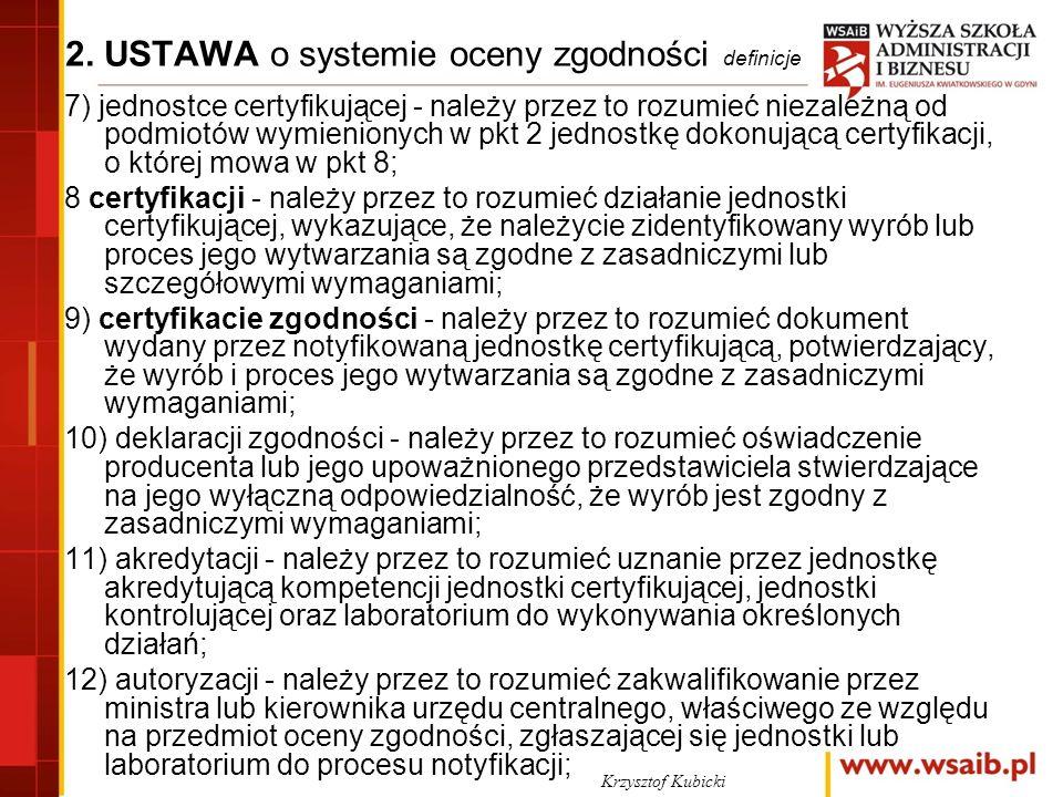 2. USTAWA o systemie oceny zgodności definicje 7) jednostce certyfikującej - należy przez to rozumieć niezależną od podmiotów wymienionych w pkt 2 jed
