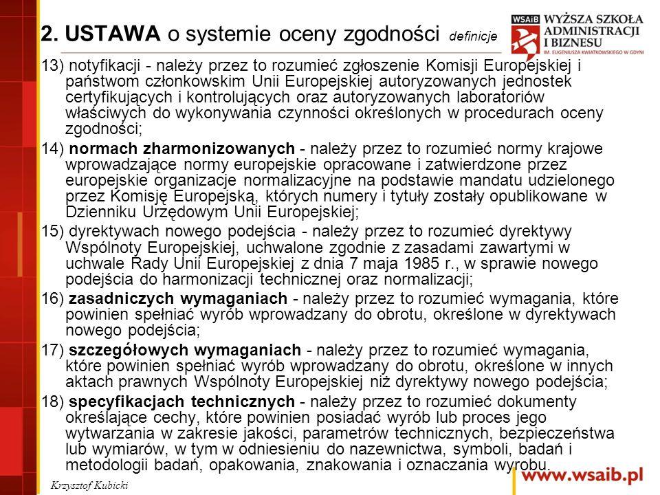 2. USTAWA o systemie oceny zgodności definicje 13) notyfikacji - należy przez to rozumieć zgłoszenie Komisji Europejskiej i państwom członkowskim Unii
