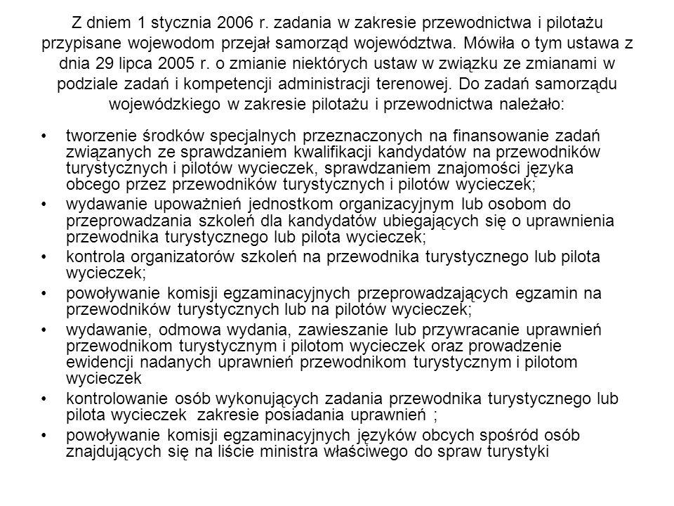 Z dniem 1 stycznia 2006 r. zadania w zakresie przewodnictwa i pilotażu przypisane wojewodom przejał samorząd województwa. Mówiła o tym ustawa z dnia 2