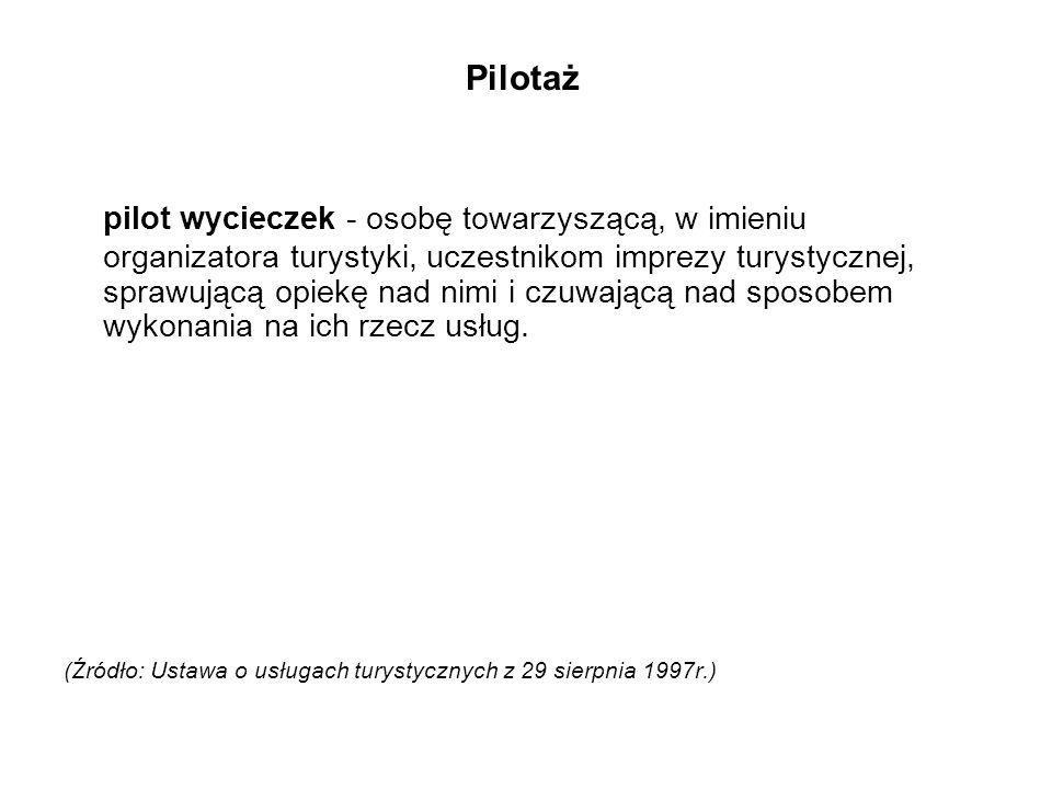 Specjalizacje w zakresie pilotażu wycieczek Praktyka pilotowania wycieczek wskazuje obecnie na występowanie 3 głównych sposobów realizacji usług pilotażu, a mianowicie [1]:[1] - pilotaż imprez objazdowych (zarówno przyjazdowych, jak i wyjazdowych), - pilotaż imprez pobytowych (tzw.