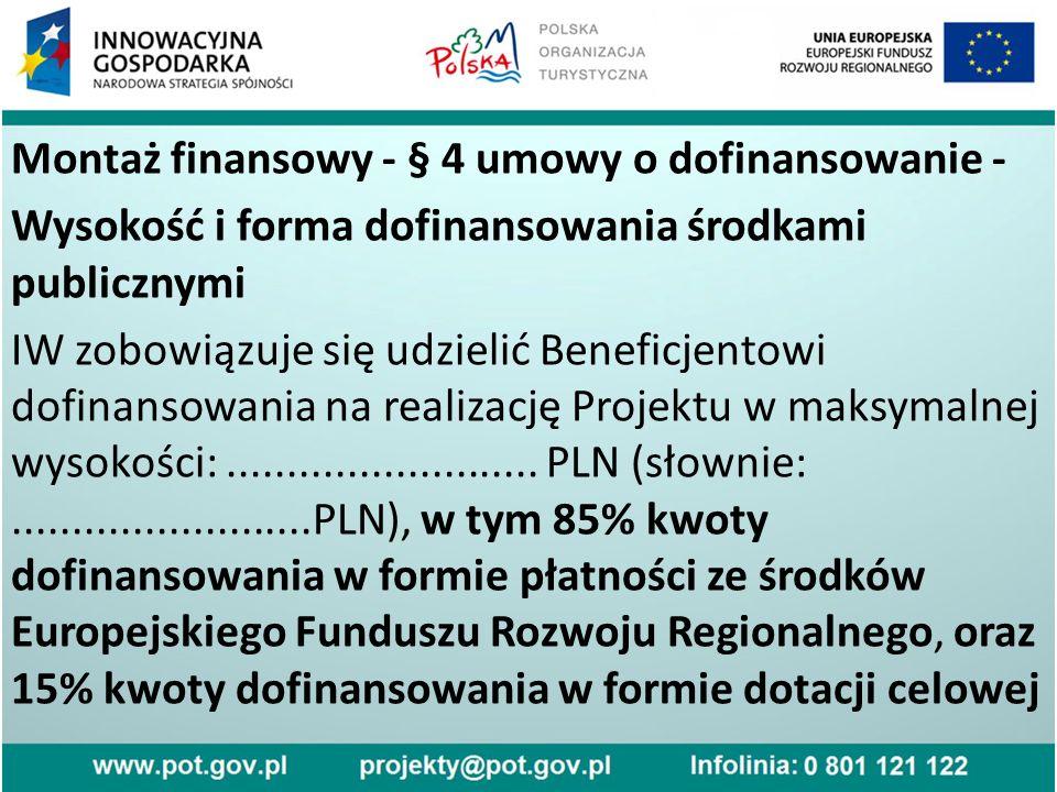 Montaż finansowy - § 4 umowy o dofinansowanie - Wysokość i forma dofinansowania środkami publicznymi IW zobowiązuje się udzielić Beneficjentowi dofinansowania na realizację Projektu w maksymalnej wysokości:..........................