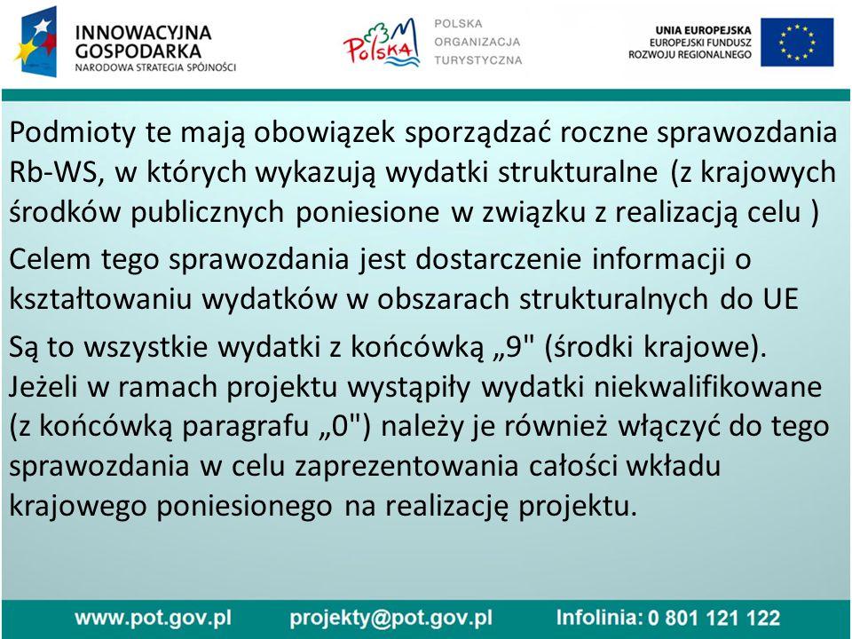 """Podmioty te mają obowiązek sporządzać roczne sprawozdania Rb-WS, w których wykazują wydatki strukturalne (z krajowych środków publicznych poniesione w związku z realizacją celu ) Celem tego sprawozdania jest dostarczenie informacji o kształtowaniu wydatków w obszarach strukturalnych do UE Są to wszystkie wydatki z końcówką """"9 (środki krajowe)."""