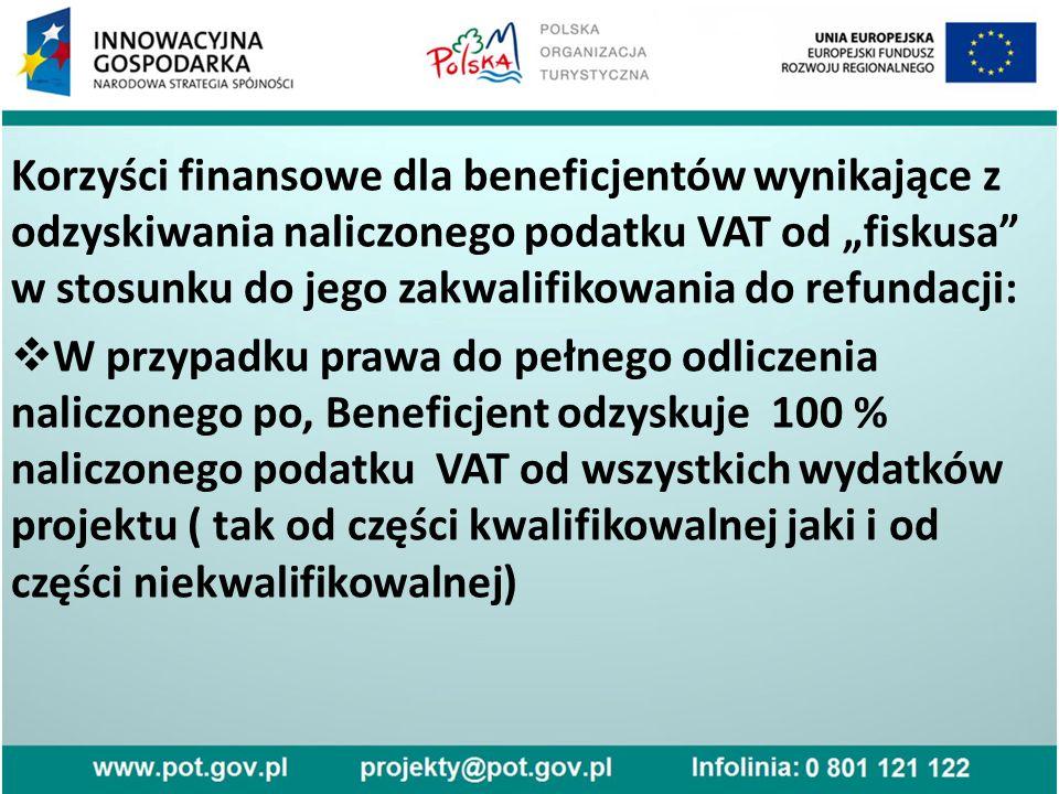 """Korzyści finansowe dla beneficjentów wynikające z odzyskiwania naliczonego podatku VAT od """"fiskusa w stosunku do jego zakwalifikowania do refundacji:  W przypadku prawa do pełnego odliczenia naliczonego po, Beneficjent odzyskuje 100 % naliczonego podatku VAT od wszystkich wydatków projektu ( tak od części kwalifikowalnej jaki i od części niekwalifikowalnej)"""