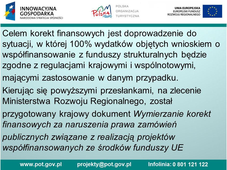 Celem korekt finansowych jest doprowadzenie do sytuacji, w której 100% wydatków objętych wnioskiem o współfinansowanie z funduszy strukturalnych będzie zgodne z regulacjami krajowymi i wspólnotowymi, mającymi zastosowanie w danym przypadku.