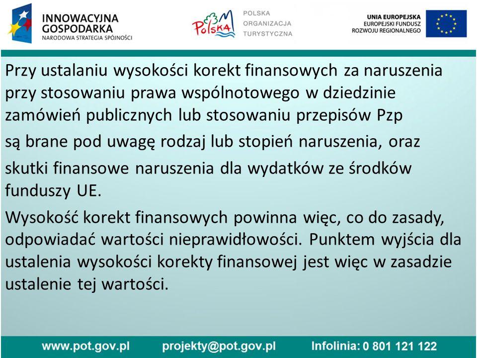 Przy ustalaniu wysokości korekt finansowych za naruszenia przy stosowaniu prawa wspólnotowego w dziedzinie zamówień publicznych lub stosowaniu przepisów Pzp są brane pod uwagę rodzaj lub stopień naruszenia, oraz skutki finansowe naruszenia dla wydatków ze środków funduszy UE.