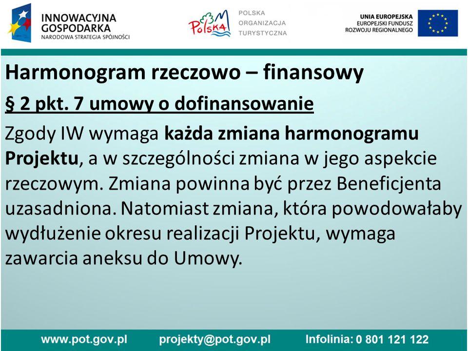 Harmonogram rzeczowo – finansowy § 2 pkt.