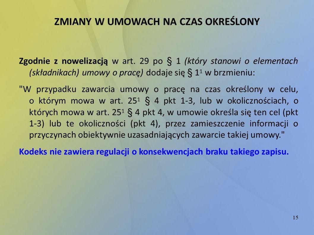 15 ZMIANY W UMOWACH NA CZAS OKREŚLONY Zgodnie z nowelizacją w art. 29 po § 1 (który stanowi o elementach (składnikach) umowy o pracę) dodaje się § 1 1