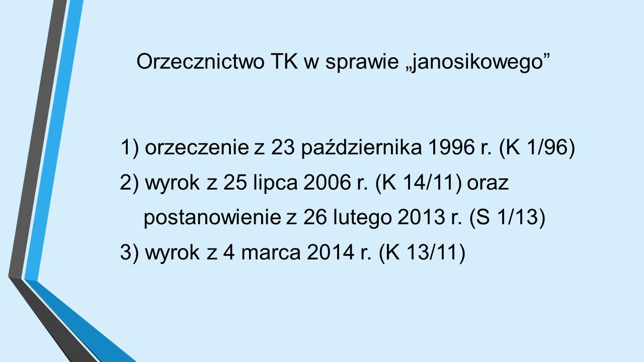 """Orzecznictwo TK w sprawie """"janosikowego 1) orzeczenie z 23 października 1996 r."""