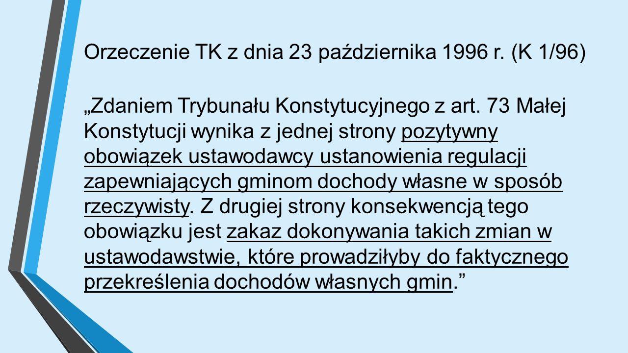 """Orzeczenie TK z dnia 23 października 1996 r. (K 1/96) """"Zdaniem Trybunału Konstytucyjnego z art."""