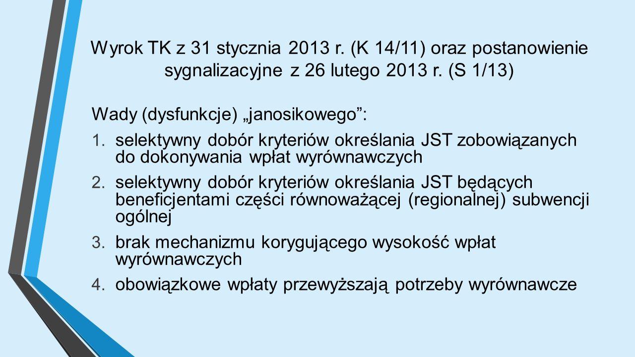 Wyrok TK z 31 stycznia 2013 r. (K 14/11) oraz postanowienie sygnalizacyjne z 26 lutego 2013 r.