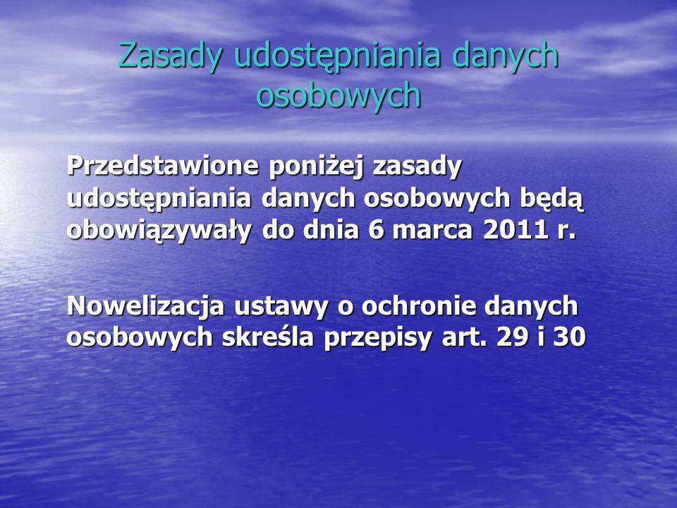 Zasady udostępniania danych osobowych Przedstawione poniżej zasady udostępniania danych osobowych będą obowiązywały do dnia 6 marca 2011 r. Nowelizacj
