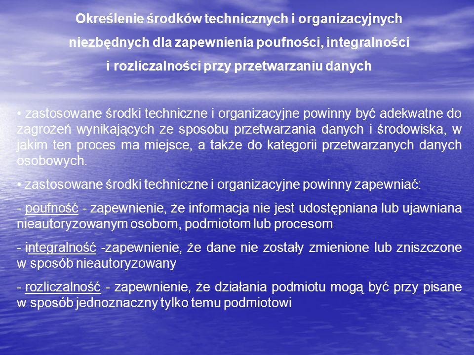Określenie środków technicznych i organizacyjnych niezbędnych dla zapewnienia poufności, integralności i rozliczalności przy przetwarzaniu danych zast