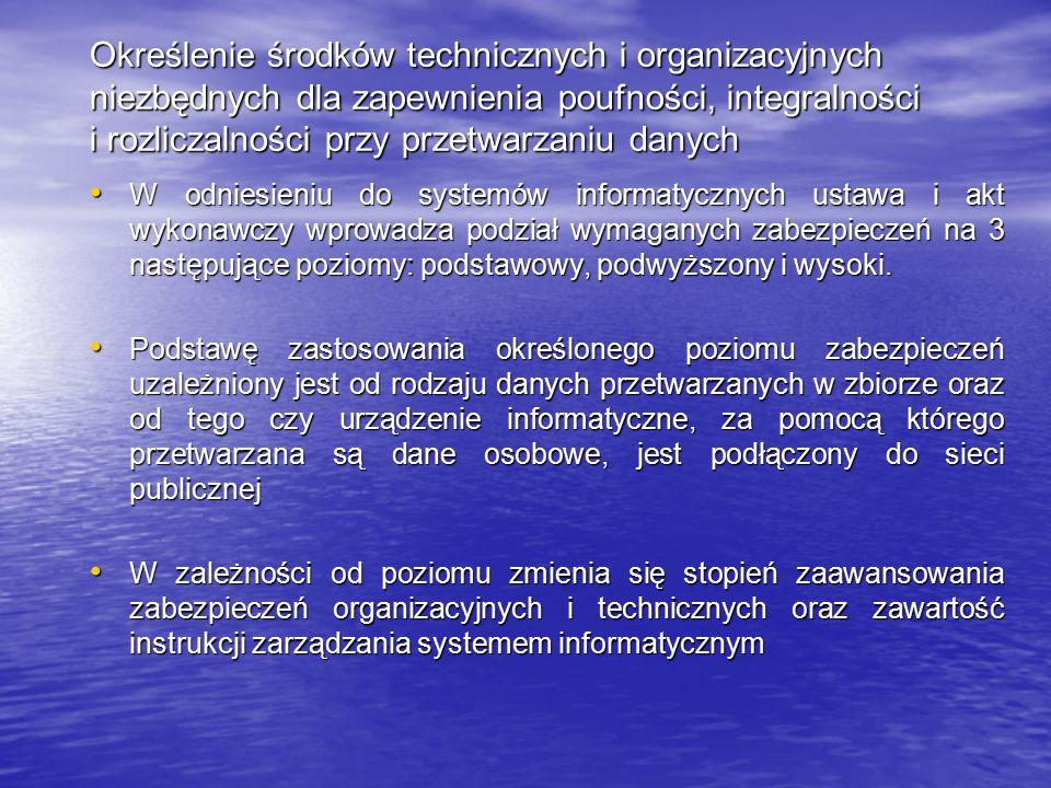 Określenie środków technicznych i organizacyjnych niezbędnych dla zapewnienia poufności, integralności i rozliczalności przy przetwarzaniu danych W od
