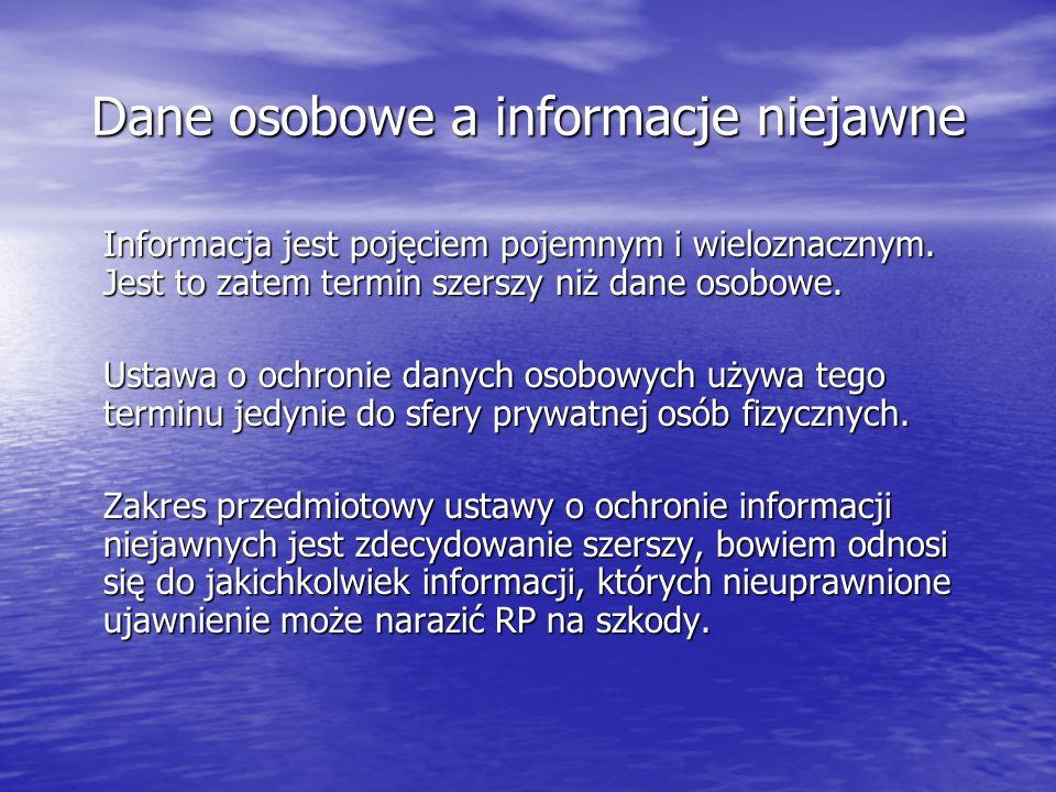 Dane osobowe a informacje niejawne Informacja jest pojęciem pojemnym i wieloznacznym.