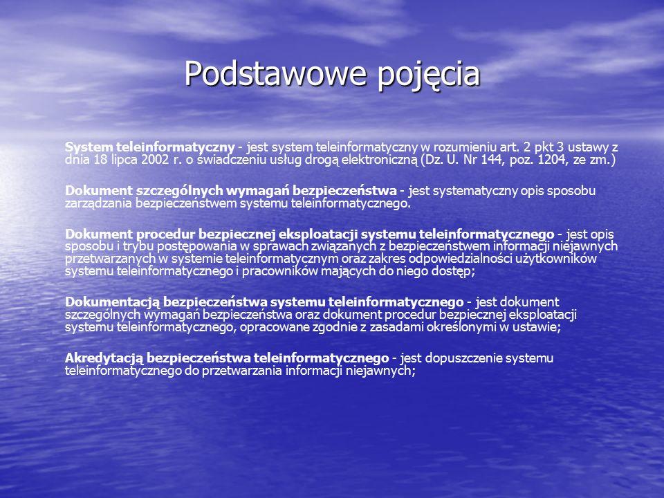 Podstawowe pojęcia System teleinformatyczny - jest system teleinformatyczny w rozumieniu art. 2 pkt 3 ustawy z dnia 18 lipca 2002 r. o świadczeniu usł