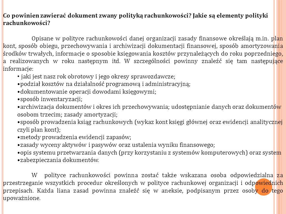 Co powinien zawierać dokument zwany polityką rachunkowości.