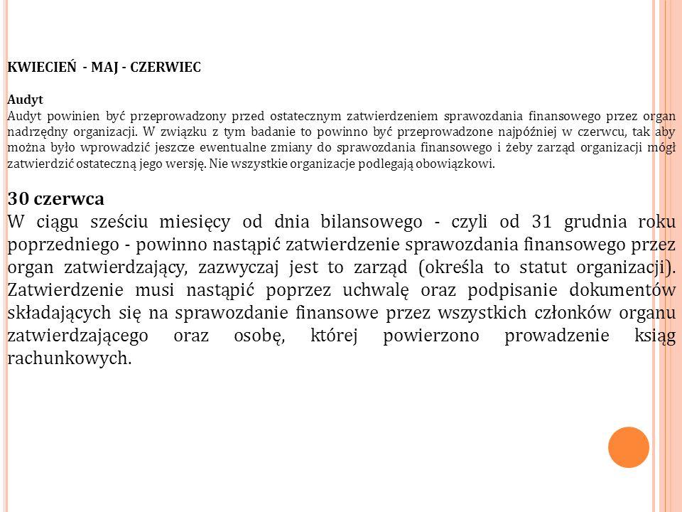 KWIECIEŃ - MAJ - CZERWIEC Audyt Audyt powinien być przeprowadzony przed ostatecznym zatwierdzeniem sprawozdania finansowego przez organ nadrzędny organizacji.