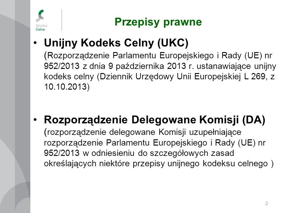 Przepisy prawne Unijny Kodeks Celny (UKC) ( Rozporządzenie Parlamentu Europejskiego i Rady (UE) nr 952/2013 z dnia 9 października 2013 r.
