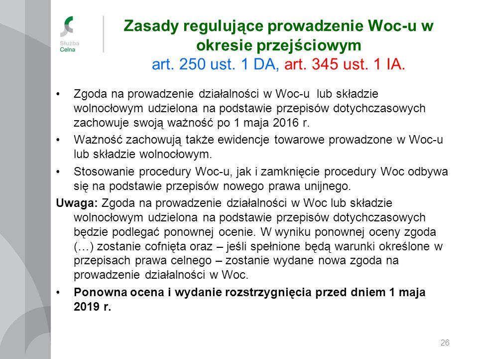 Zasady regulujące prowadzenie Woc-u w okresie przejściowym art. 250 ust. 1 DA, art. 345 ust. 1 IA. Zgoda na prowadzenie działalności w Woc-u lub skład