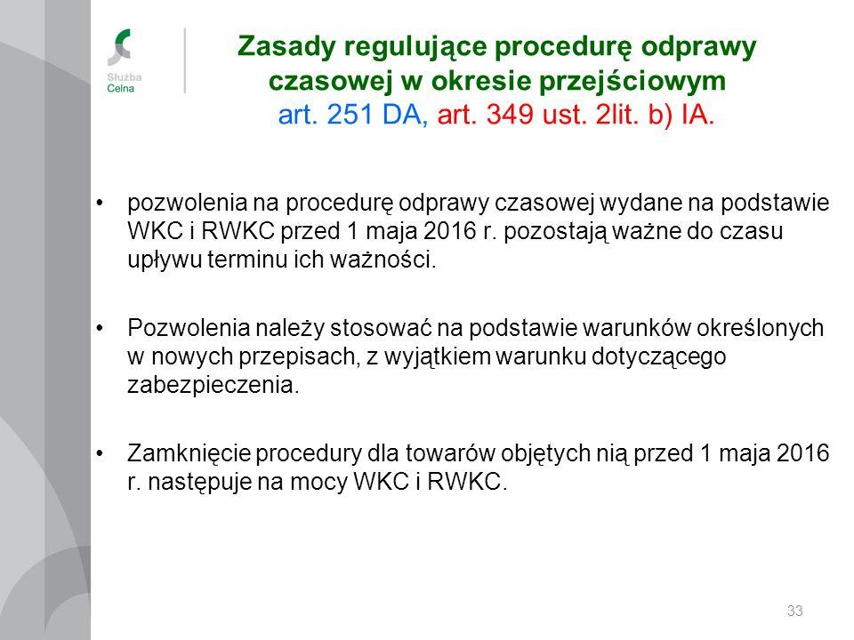 Zasady regulujące procedurę odprawy czasowej w okresie przejściowym art. 251 DA, art. 349 ust. 2lit. b) IA. pozwolenia na procedurę odprawy czasowej w