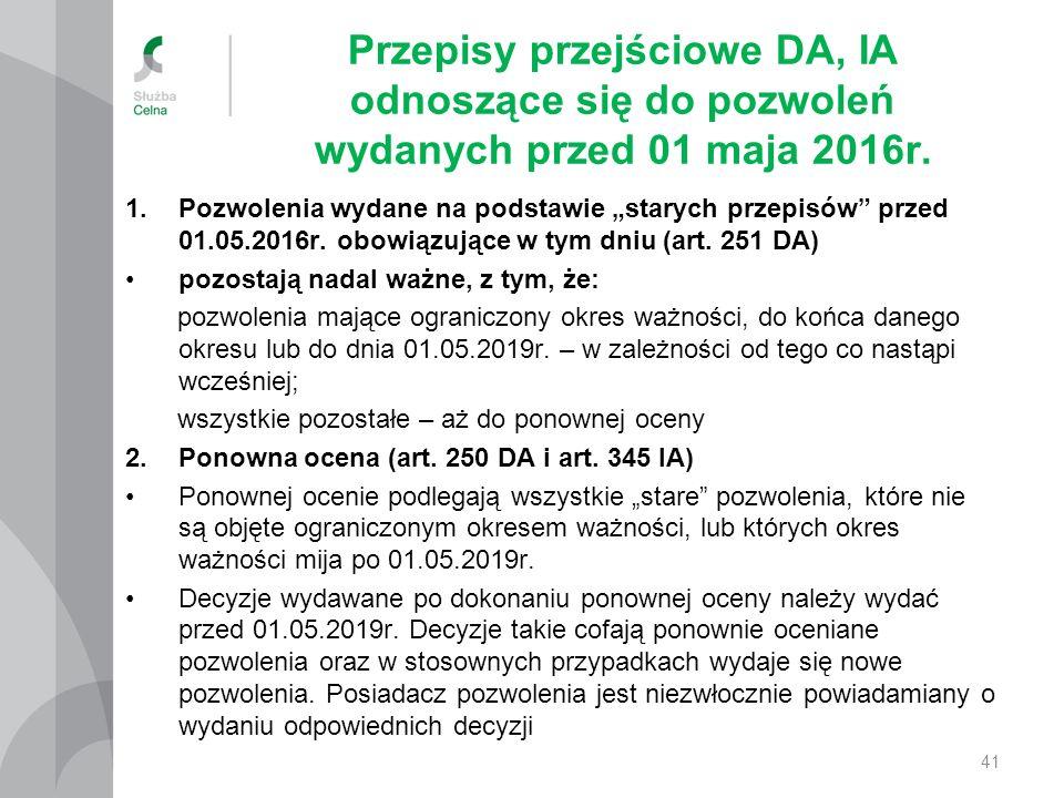 """Przepisy przejściowe DA, IA odnoszące się do pozwoleń wydanych przed 01 maja 2016r. 1.Pozwolenia wydane na podstawie """"starych przepisów"""" przed 01.05.2"""