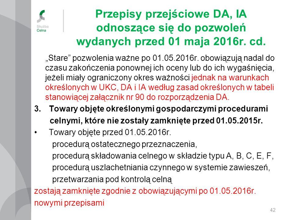 """Przepisy przejściowe DA, IA odnoszące się do pozwoleń wydanych przed 01 maja 2016r. cd. """"Stare"""" pozwolenia ważne po 01.05.2016r. obowiązują nadal do c"""
