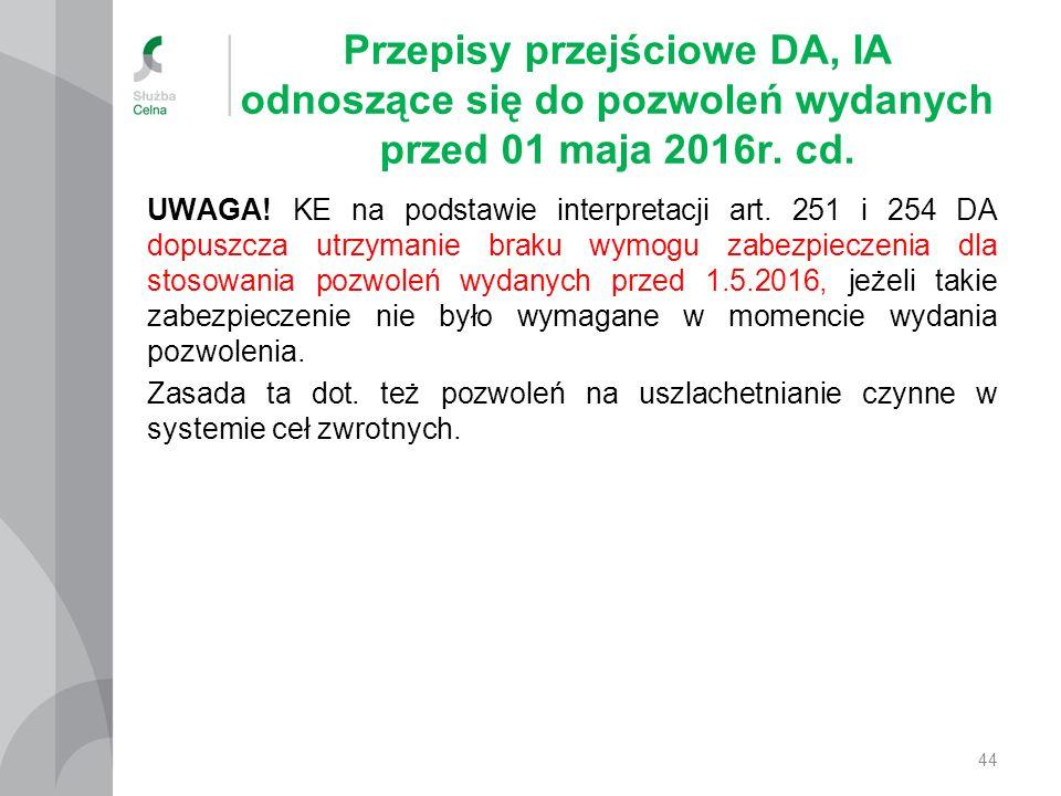 Przepisy przejściowe DA, IA odnoszące się do pozwoleń wydanych przed 01 maja 2016r. cd. UWAGA! KE na podstawie interpretacji art. 251 i 254 DA dopuszc
