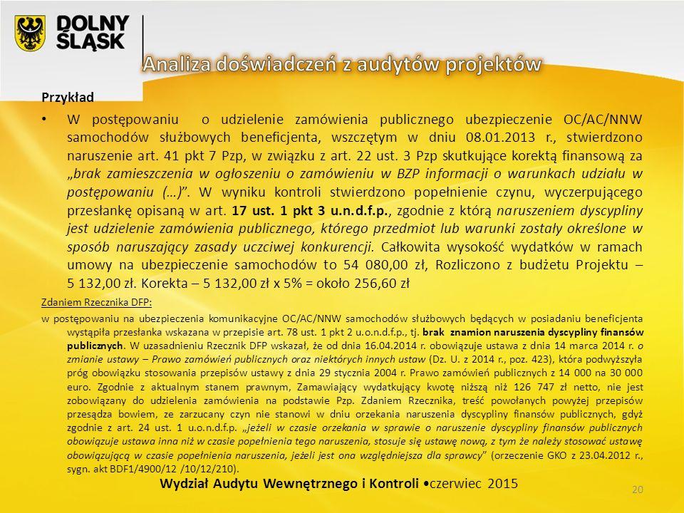 Przykład W postępowaniu o udzielenie zamówienia publicznego ubezpieczenie OC/AC/NNW samochodów służbowych beneficjenta, wszczętym w dniu 08.01.2013 r., stwierdzono naruszenie art.
