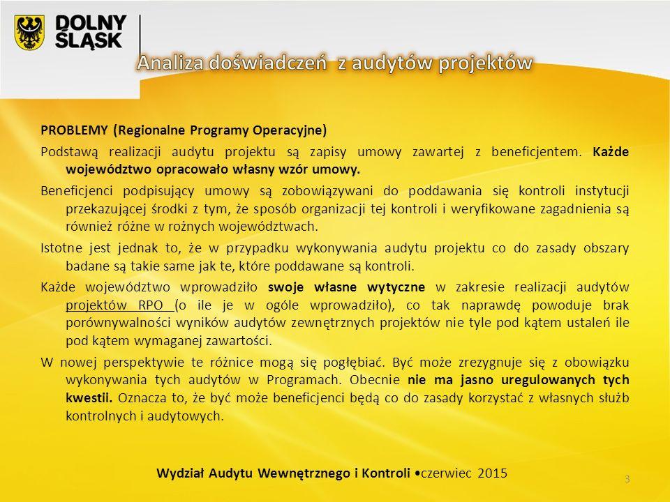 PROBLEMY (Regionalne Programy Operacyjne) Podstawą realizacji audytu projektu są zapisy umowy zawartej z beneficjentem.