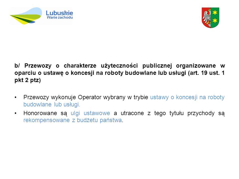 b/ Przewozy o charakterze użyteczności publicznej organizowane w oparciu o ustawę o koncesji na roboty budowlane lub usługi (art. 19 ust. 1 pkt 2 ptz)