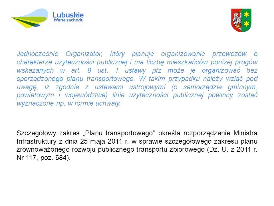 Jednocześnie Organizator, który planuje organizowanie przewozów o charakterze użyteczności publicznej i ma liczbę mieszkańców poniżej progów wskazanyc
